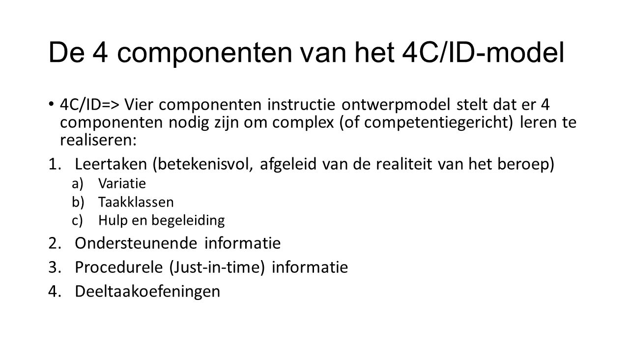 De 4 componenten van het 4C/ID-model