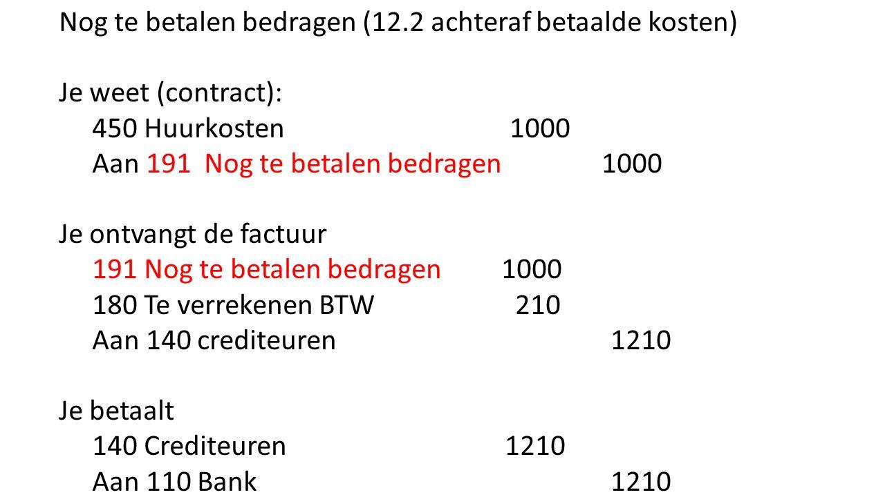 Nog te betalen bedragen (12.2 achteraf betaalde kosten)