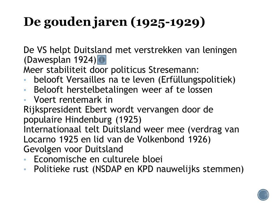 De gouden jaren (1925-1929) De VS helpt Duitsland met verstrekken van leningen (Dawesplan 1924) Meer stabiliteit door politicus Stresemann:
