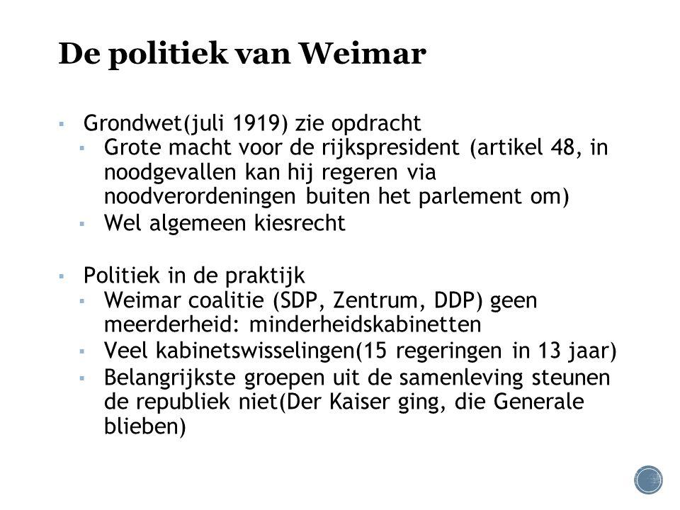 De politiek van Weimar Grondwet(juli 1919) zie opdracht
