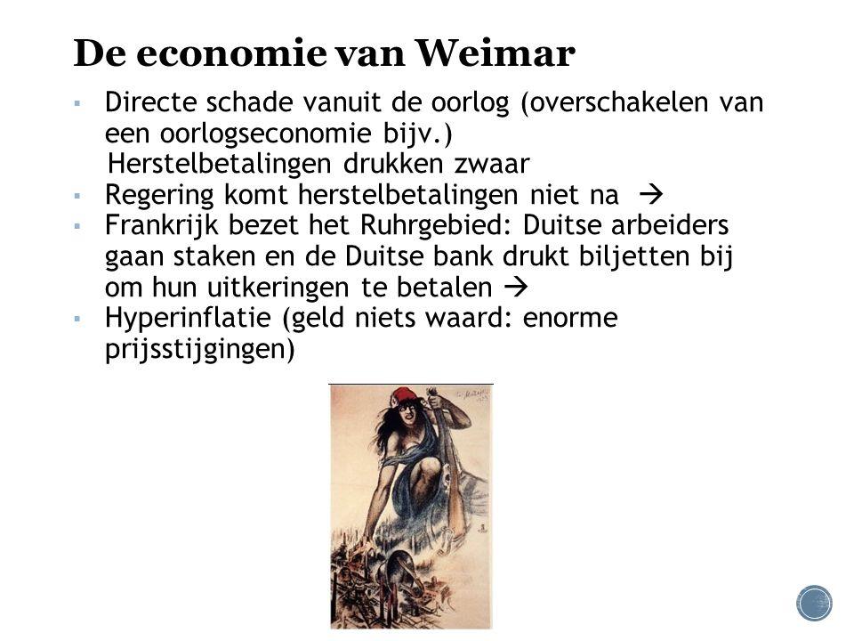 De economie van Weimar Directe schade vanuit de oorlog (overschakelen van een oorlogseconomie bijv.)
