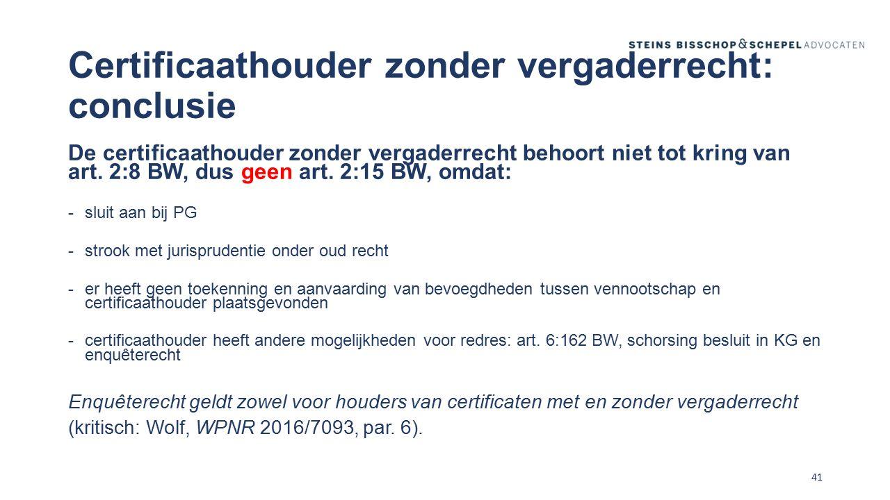 Certificaathouder zonder vergaderrecht: conclusie