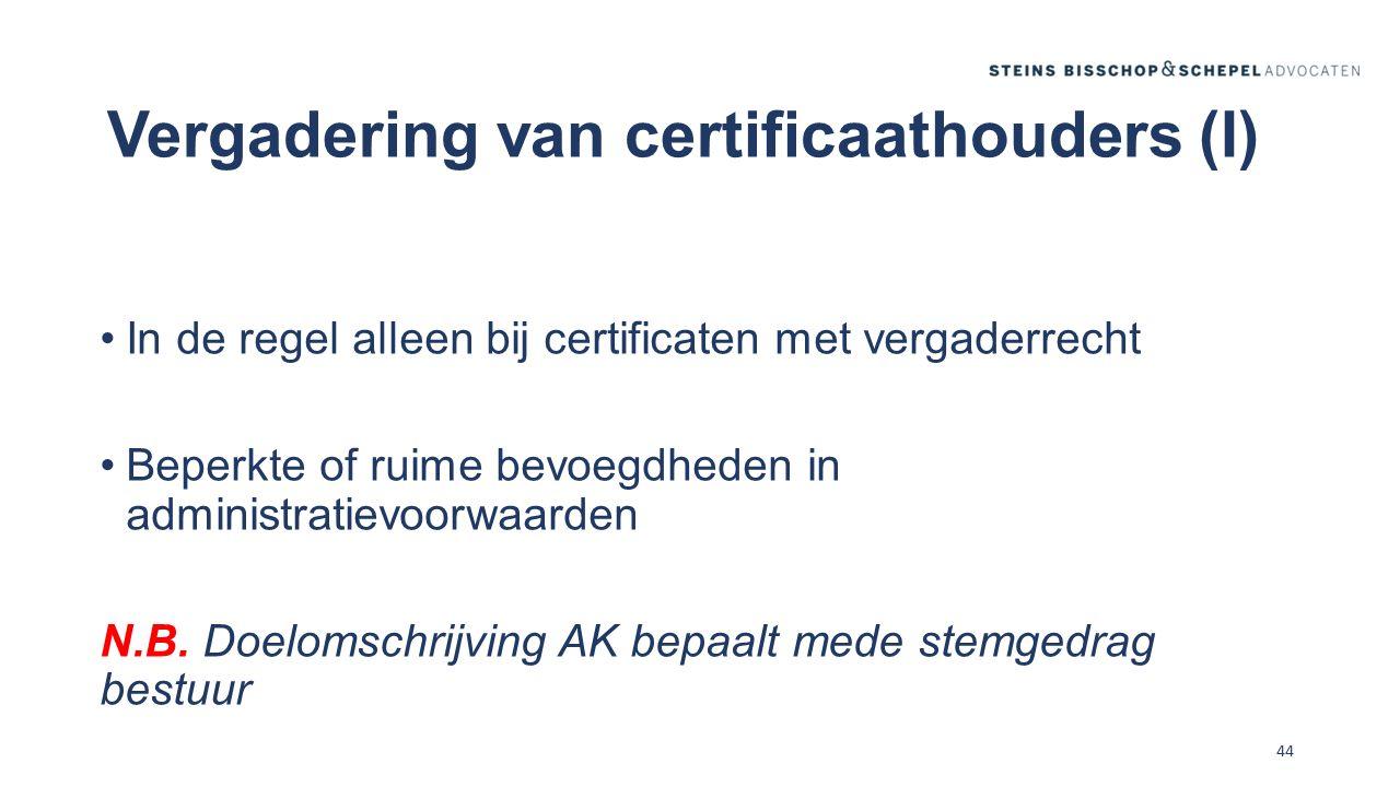 Vergadering van certificaathouders (I)