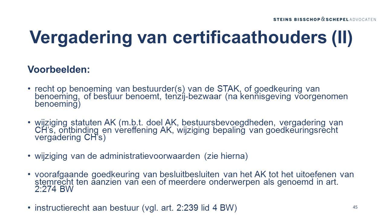 Vergadering van certificaathouders (II)