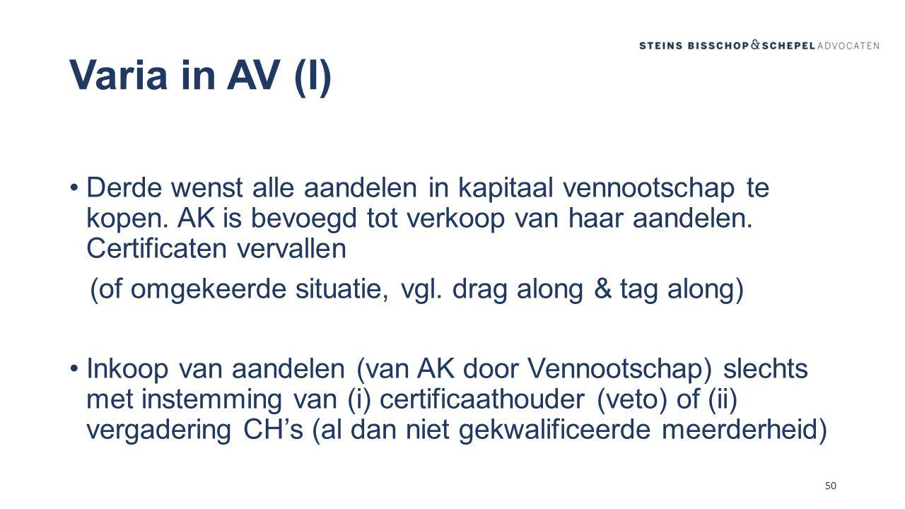 Varia in AV (I) Derde wenst alle aandelen in kapitaal vennootschap te kopen. AK is bevoegd tot verkoop van haar aandelen. Certificaten vervallen.