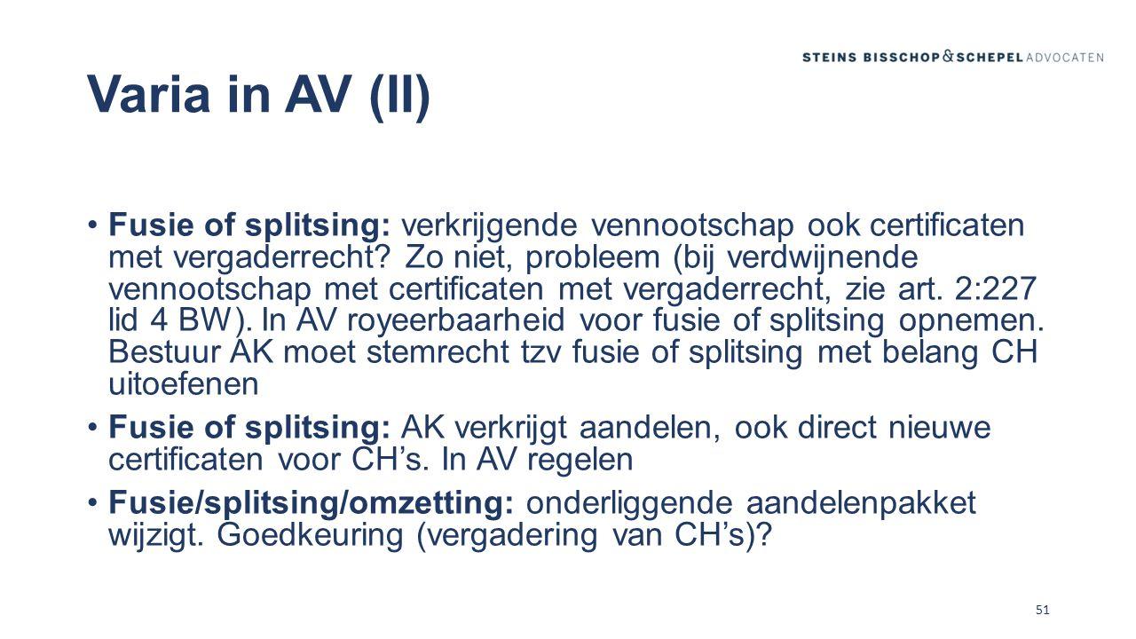 Varia in AV (II)