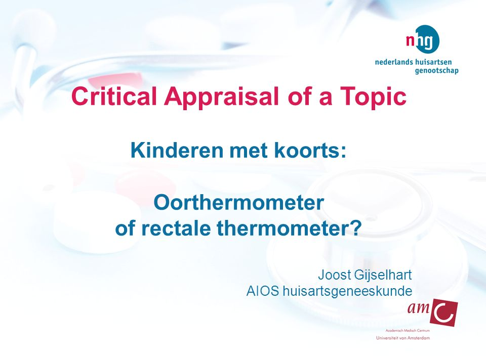 Critical Appraisal of a Topic of rectale thermometer