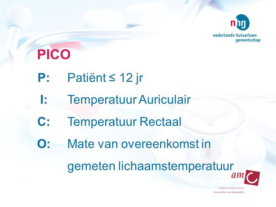PICO P: I: C: O: Patiënt ≤ 12 jr Temperatuur Auriculair