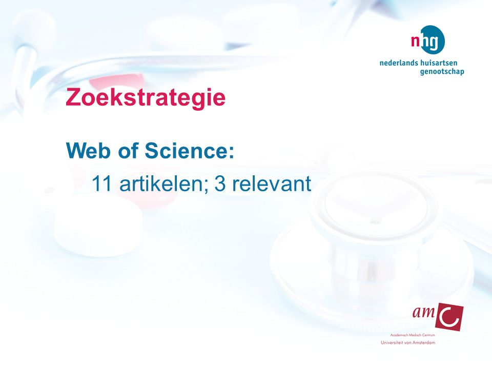 Zoekstrategie Web of Science: 11 artikelen; 3 relevant