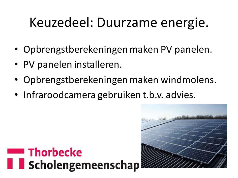 Keuzedeel: Duurzame energie.
