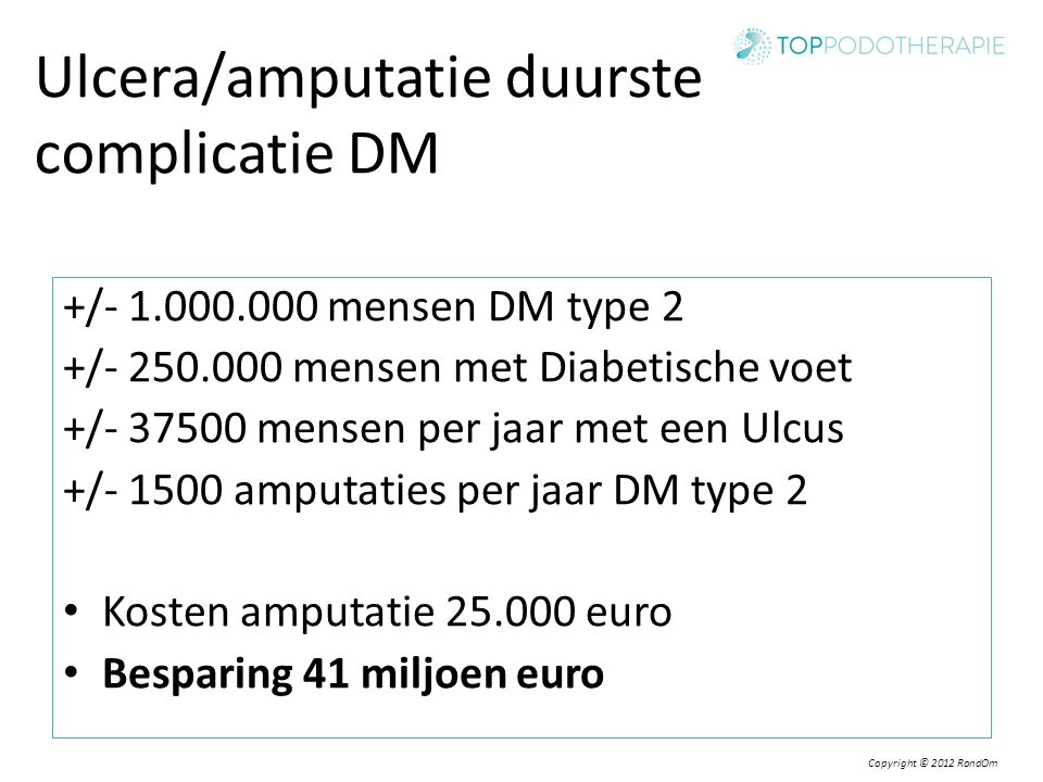 Ulcera/amputatie duurste complicatie DM