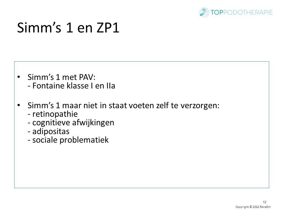 Simm's 1 en ZP1 Simm's 1 met PAV: - Fontaine klasse I en IIa
