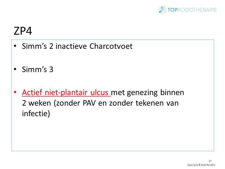 ZP4 Simm's 2 inactieve Charcotvoet Simm's 3
