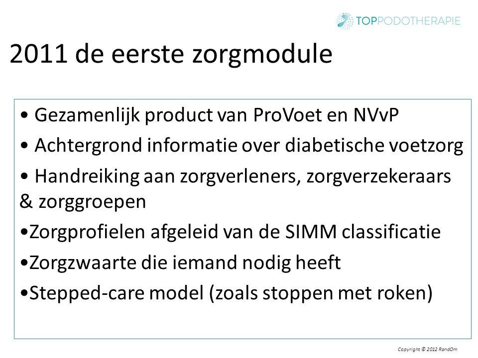 2011 de eerste zorgmodule • Gezamenlijk product van ProVoet en NVvP