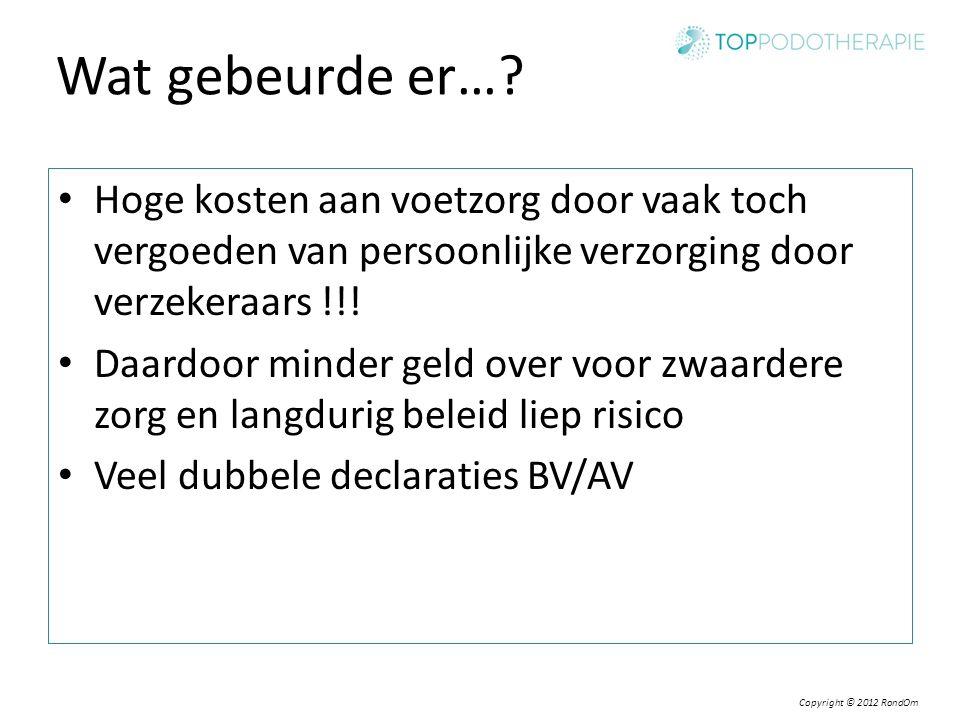 Wat gebeurde er… Hoge kosten aan voetzorg door vaak toch vergoeden van persoonlijke verzorging door verzekeraars !!!