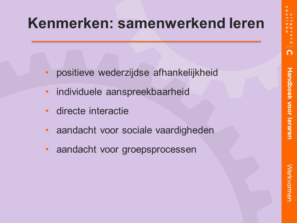 Kenmerken: samenwerkend leren