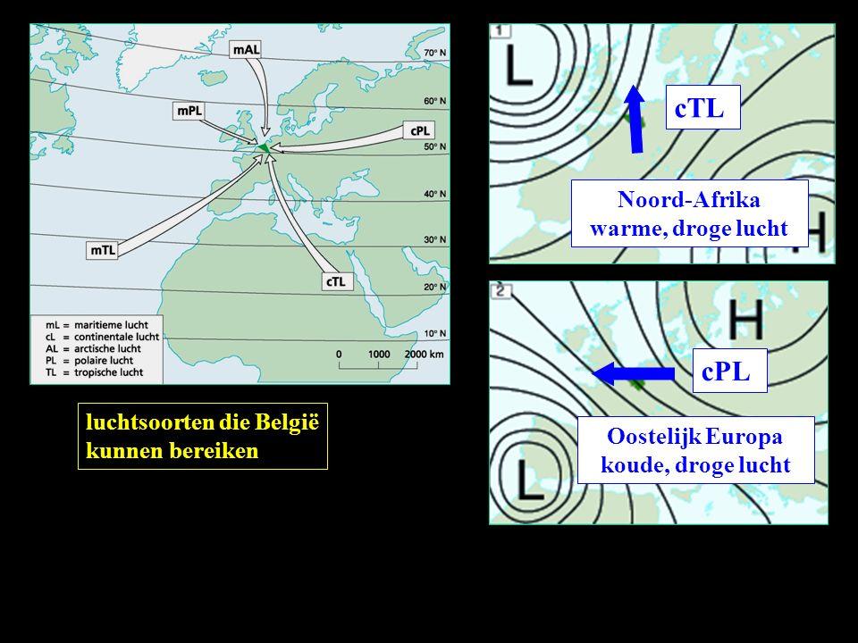 cTL cPL Noord-Afrika warme, droge lucht luchtsoorten die België