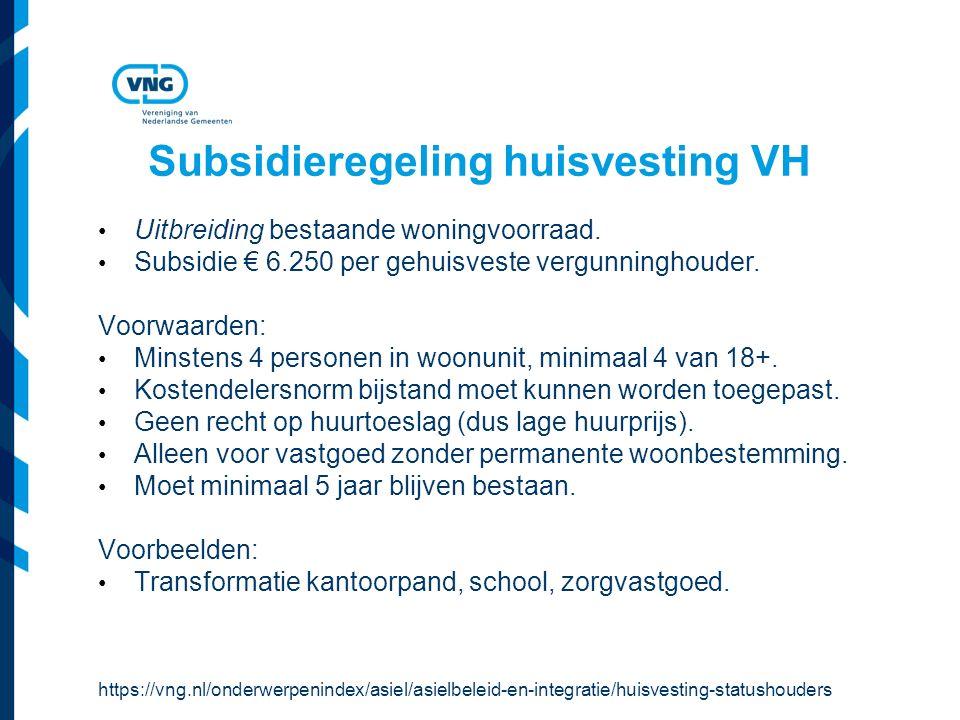 Subsidieregeling huisvesting VH