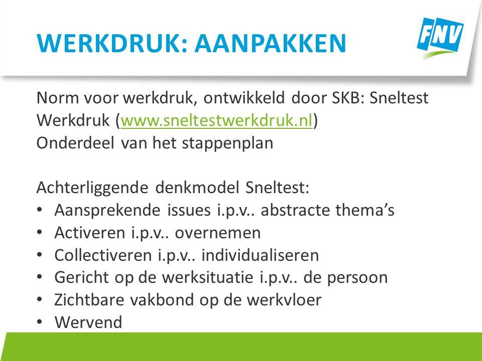 Werkdruk: aanpakken Norm voor werkdruk, ontwikkeld door SKB: Sneltest Werkdruk (www.sneltestwerkdruk.nl)