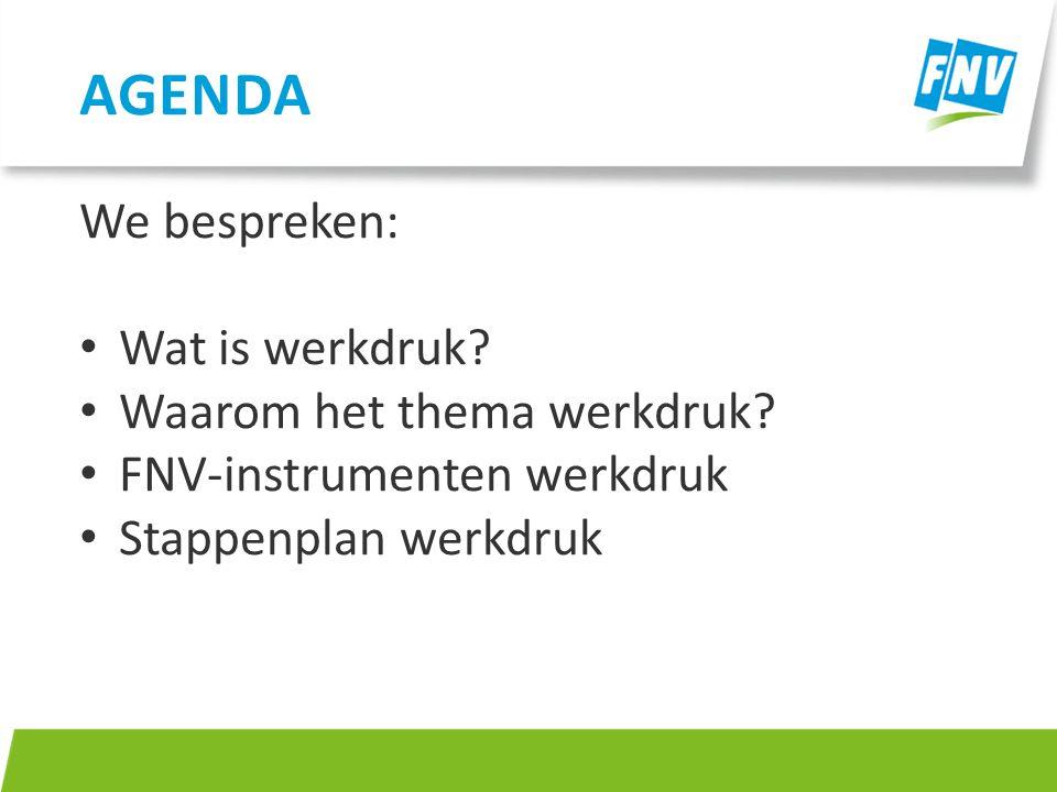 Agenda We bespreken: Wat is werkdruk Waarom het thema werkdruk