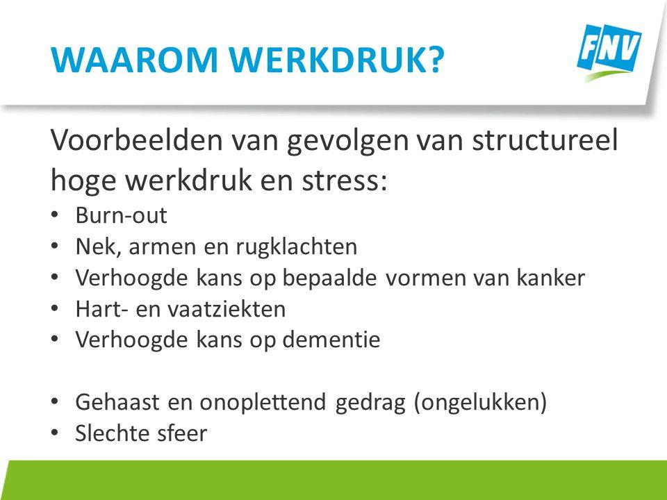 Waarom werkdruk Voorbeelden van gevolgen van structureel hoge werkdruk en stress: Burn-out. Nek, armen en rugklachten.