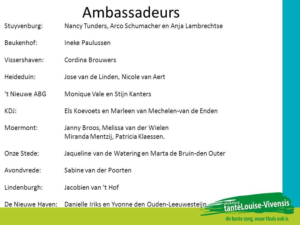 Ambassadeurs Stuyvenburg: Nancy Tunders, Arco Schumacher en Anja Lambrechtse. Beukenhof: Ineke Paulussen.