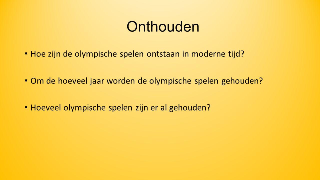 Onthouden Hoe zijn de olympische spelen ontstaan in moderne tijd