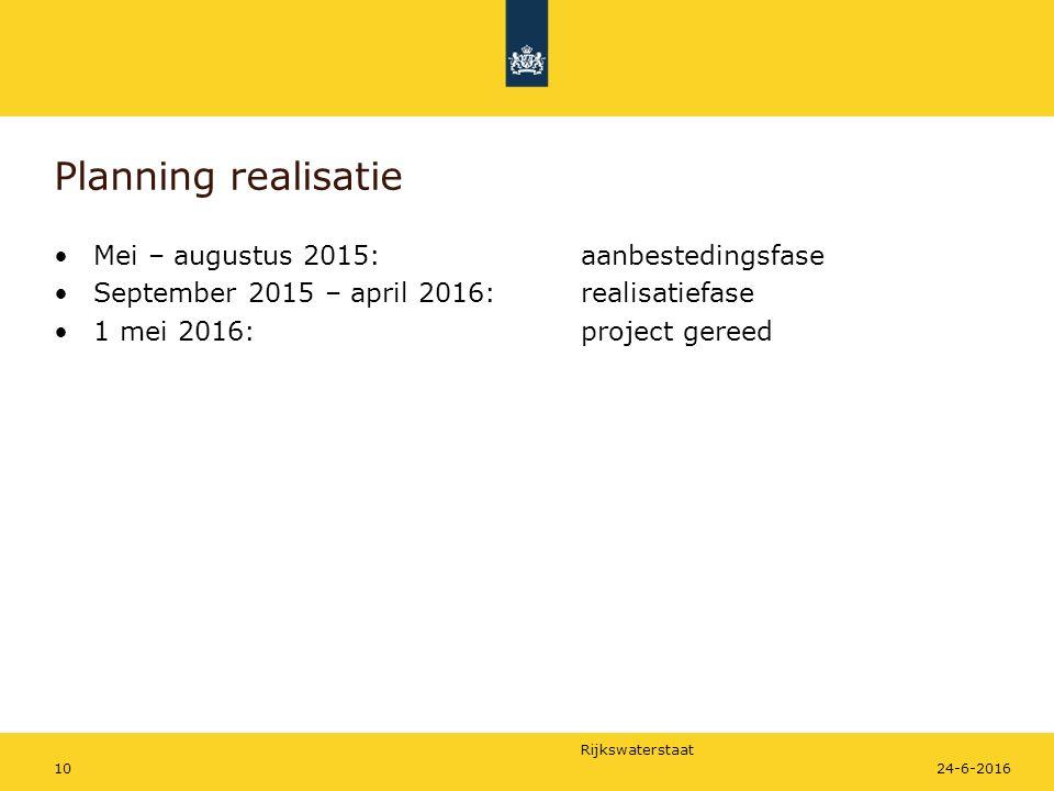 Planning realisatie Mei – augustus 2015: aanbestedingsfase