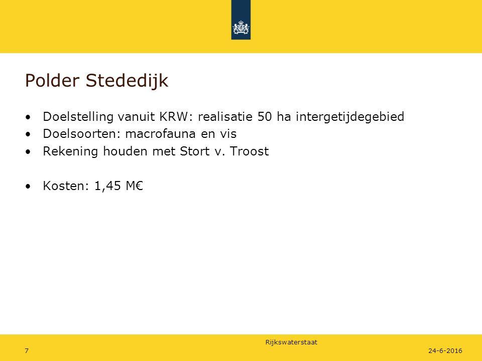 Polder Stededijk Doelstelling vanuit KRW: realisatie 50 ha intergetijdegebied. Doelsoorten: macrofauna en vis.