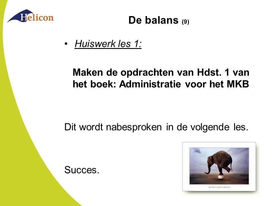 De balans (9) Huiswerk les 1: