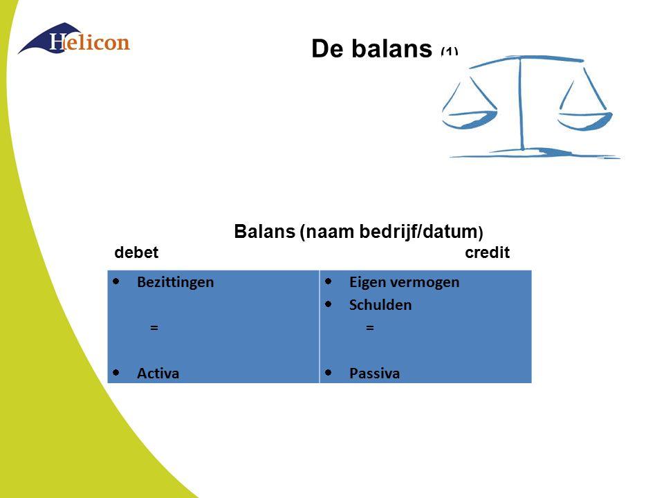 De balans (1) Balans (naam bedrijf/datum) debet credit Bezittingen =
