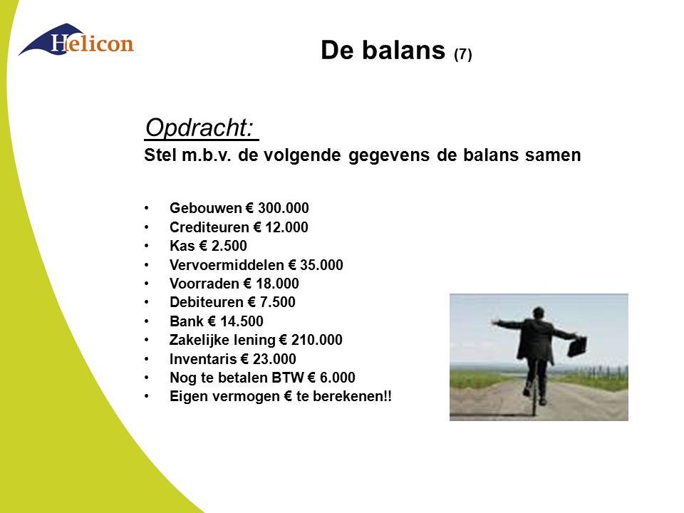 De balans (7) Opdracht: Stel m.b.v. de volgende gegevens de balans samen. Gebouwen € 300.000. Crediteuren € 12.000.