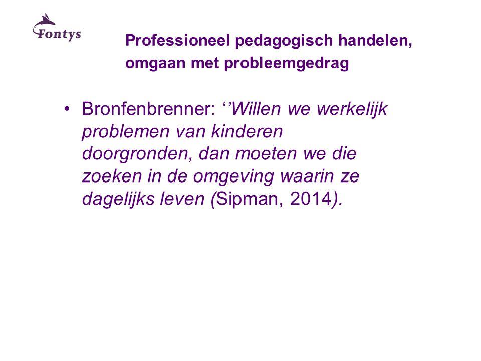 Professioneel pedagogisch handelen, omgaan met probleemgedrag