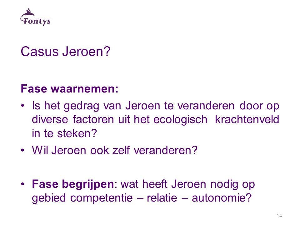 Casus Jeroen Fase waarnemen: