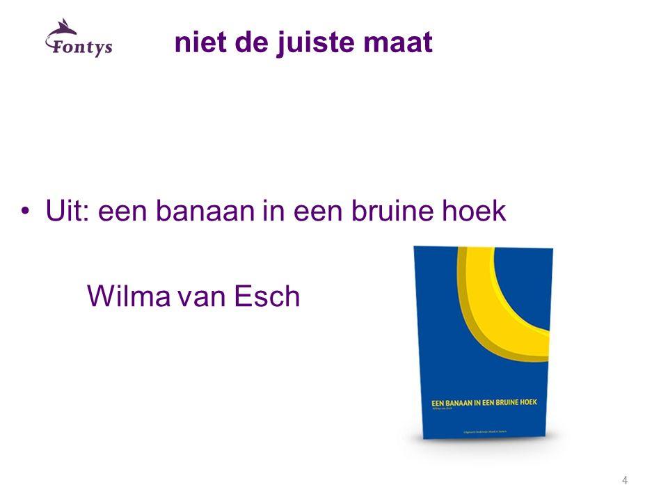 niet de juiste maat Uit: een banaan in een bruine hoek Wilma van Esch
