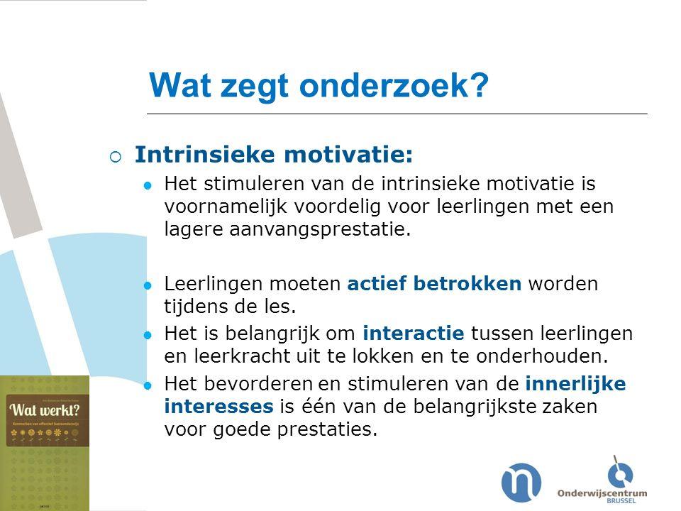 Wat zegt onderzoek Intrinsieke motivatie: