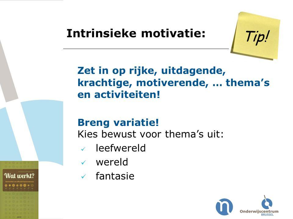Tip! Intrinsieke motivatie: Zet in op rijke, uitdagende, krachtige, motiverende, … thema's en activiteiten!