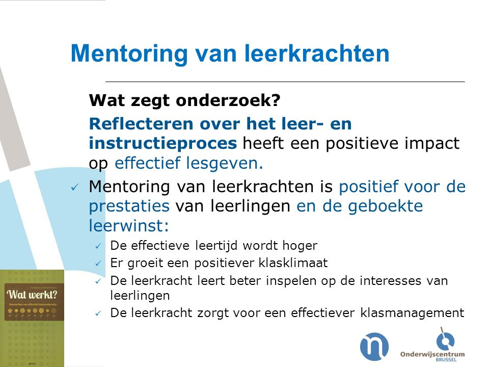 Mentoring van leerkrachten