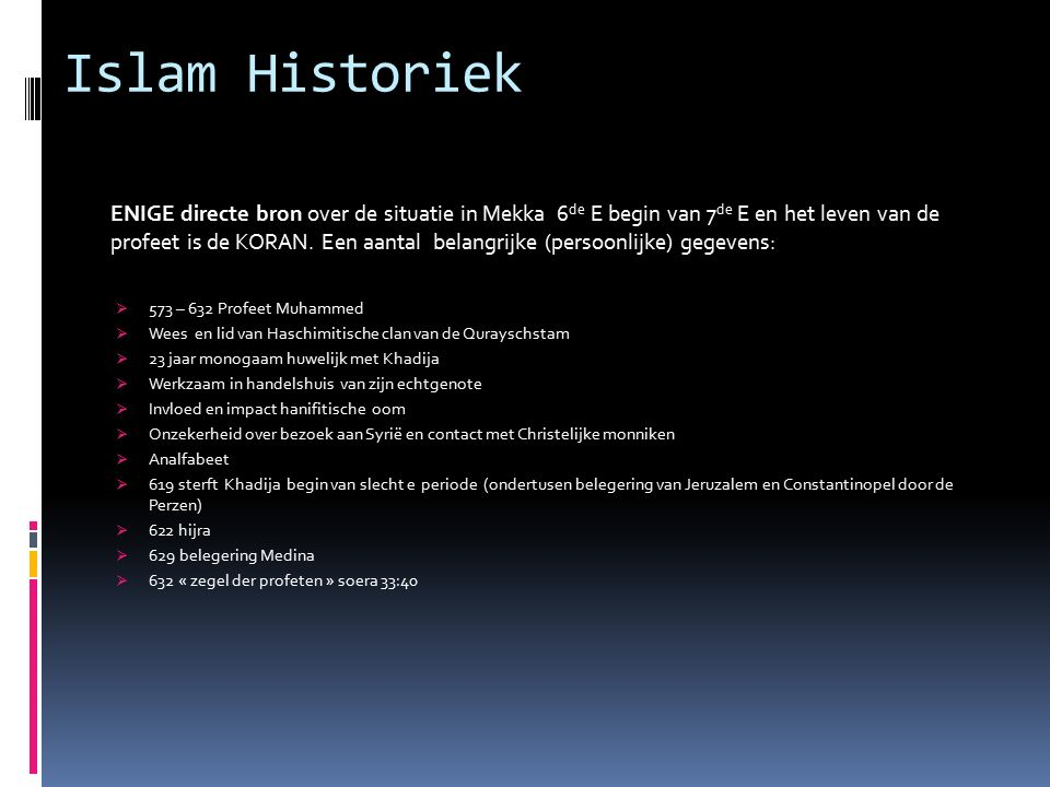 Islam Historiek