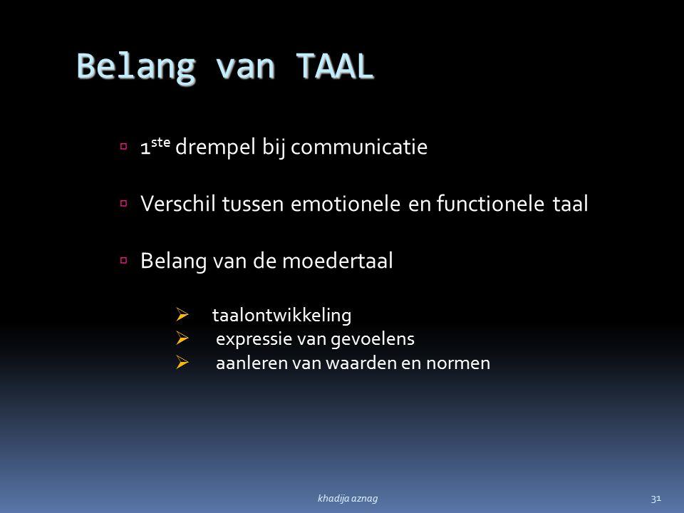 Belang van TAAL 1ste drempel bij communicatie