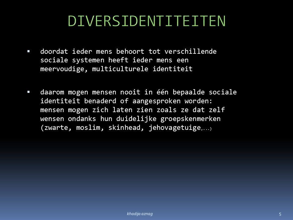 DIVERSIDENTITEITEN doordat ieder mens behoort tot verschillende sociale systemen heeft ieder mens een meervoudige, multiculturele identiteit.