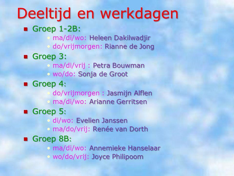 Deeltijd en werkdagen Groep 1-2B: Groep 3: Groep 4: Groep 5: Groep 8B: