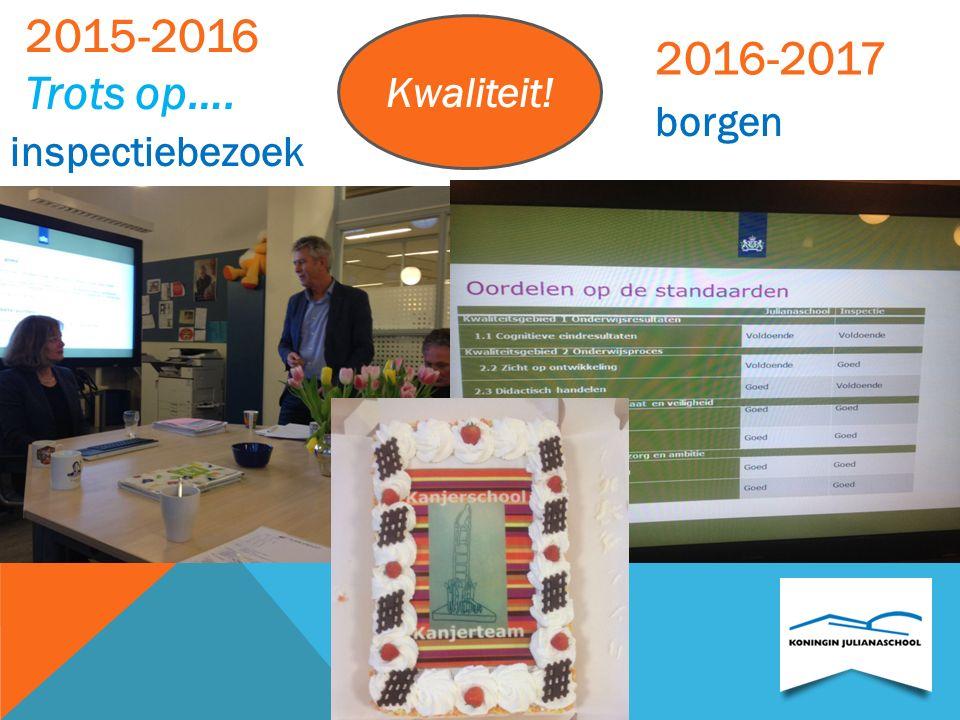 2015-2016 Trots op…. Kwaliteit! 2016-2017 borgen inspectiebezoek
