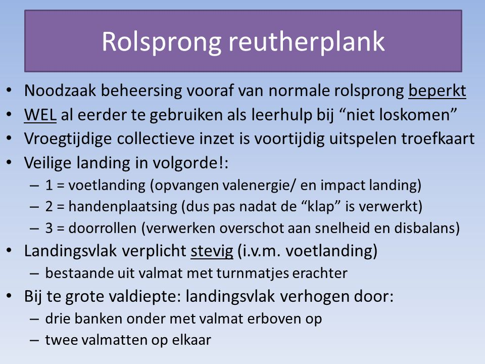 Rolsprong reutherplank