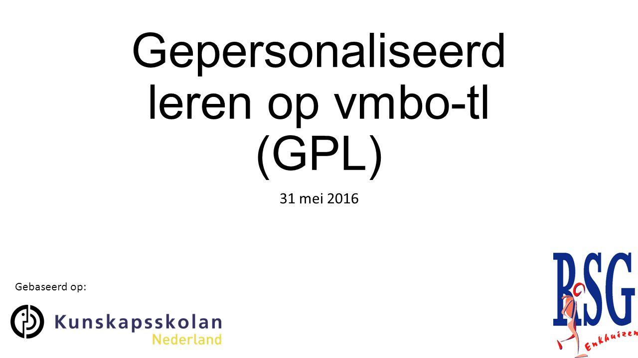 Gepersonaliseerd leren op vmbo-tl (GPL)