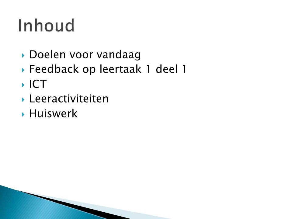 Inhoud Doelen voor vandaag Feedback op leertaak 1 deel 1 ICT
