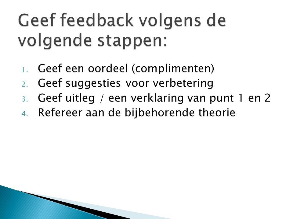 Geef feedback volgens de volgende stappen: