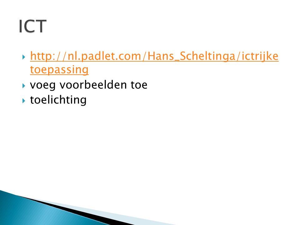 ICT http://nl.padlet.com/Hans_Scheltinga/ictrijke toepassing