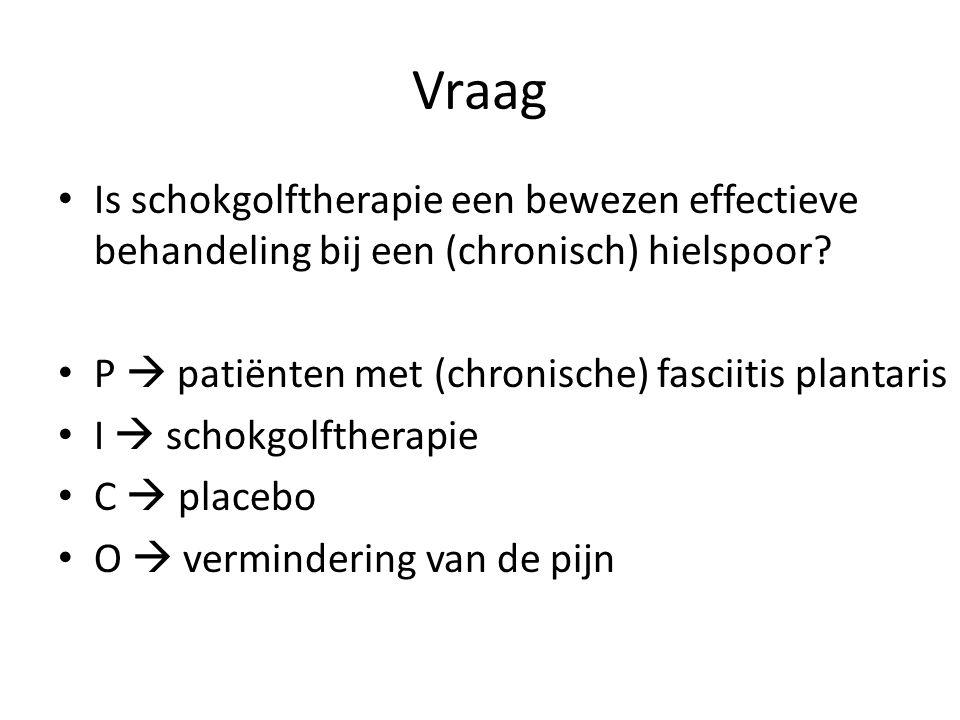 Vraag Is schokgolftherapie een bewezen effectieve behandeling bij een (chronisch) hielspoor P  patiënten met (chronische) fasciitis plantaris.