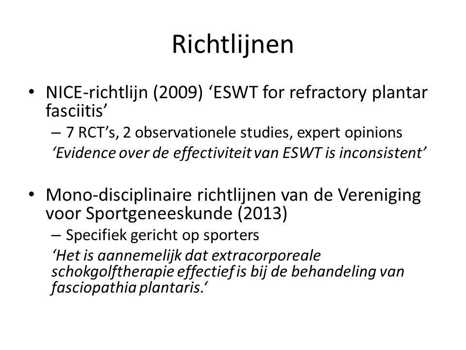 Richtlijnen NICE-richtlijn (2009) 'ESWT for refractory plantar fasciitis' 7 RCT's, 2 observationele studies, expert opinions.